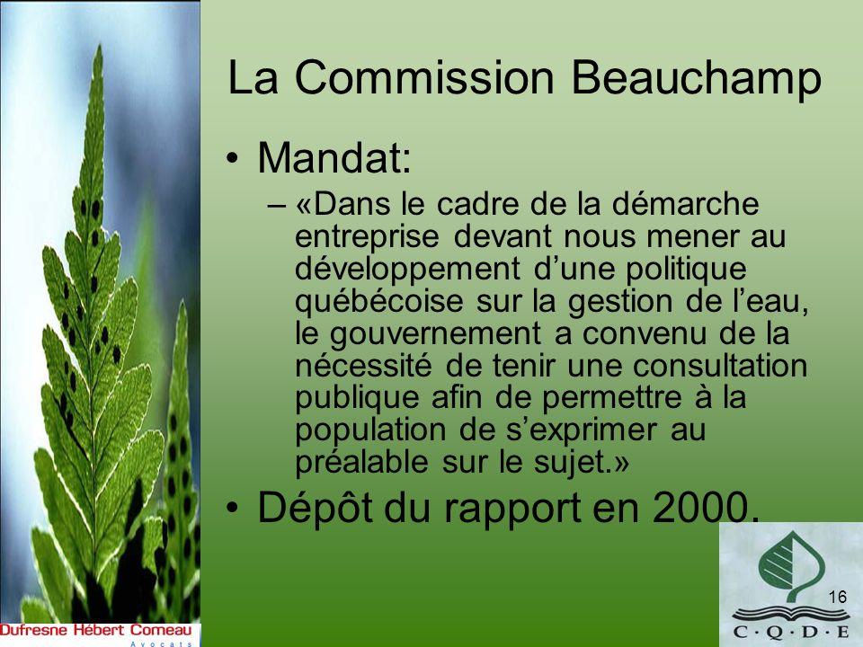 La Commission Beauchamp 16 Mandat: –«Dans le cadre de la démarche entreprise devant nous mener au développement dune politique québécoise sur la gesti