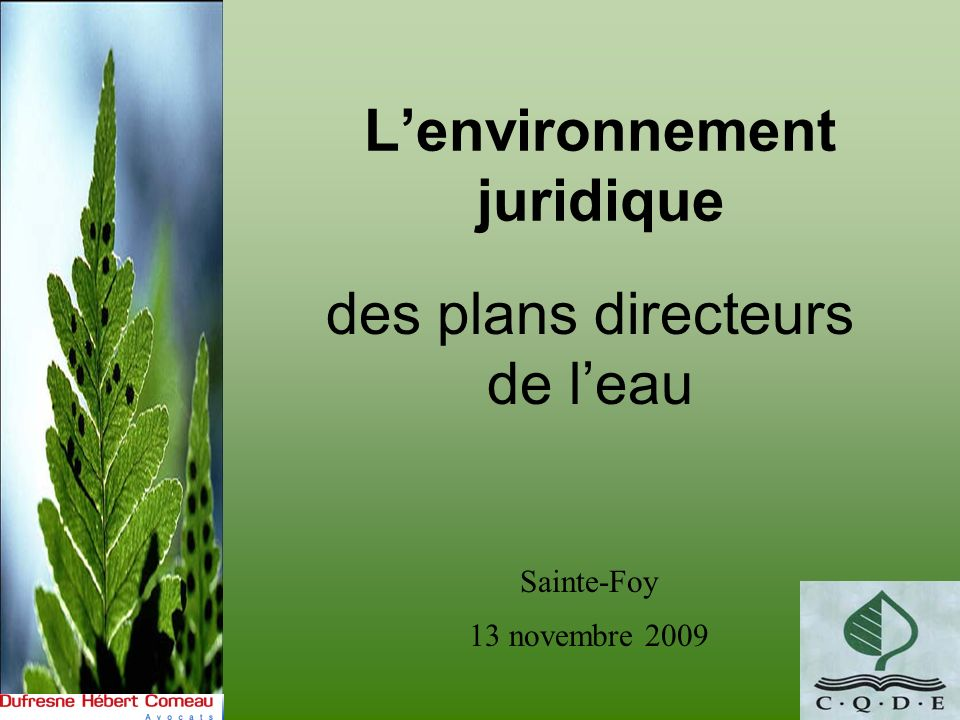 Lenvironnement juridique des plans directeurs de leau Sainte-Foy 13 novembre 2009