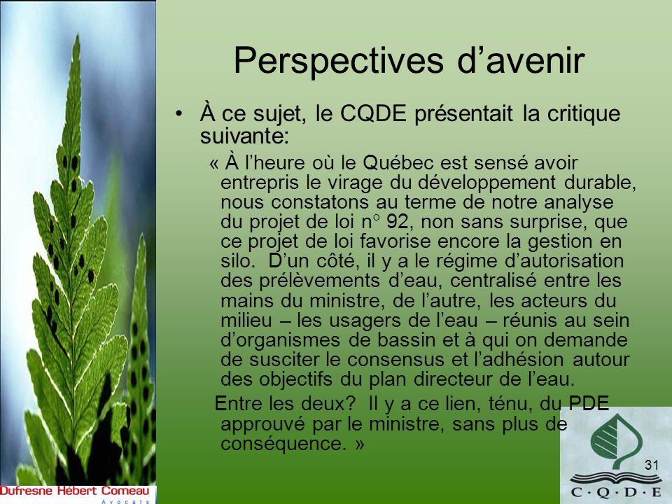 Perspectives davenir À ce sujet, le CQDE présentait la critique suivante: « À lheure où le Québec est sensé avoir entrepris le virage du développement