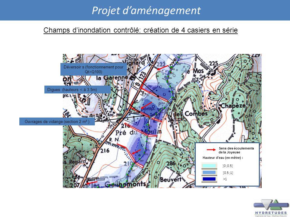 Projet daménagement Champs dinondation contrôlé: création de 4 casiers en série Digues (hauteurs < à 3.5m) Ouvrages de vidange (section 2 m² ) Déverso