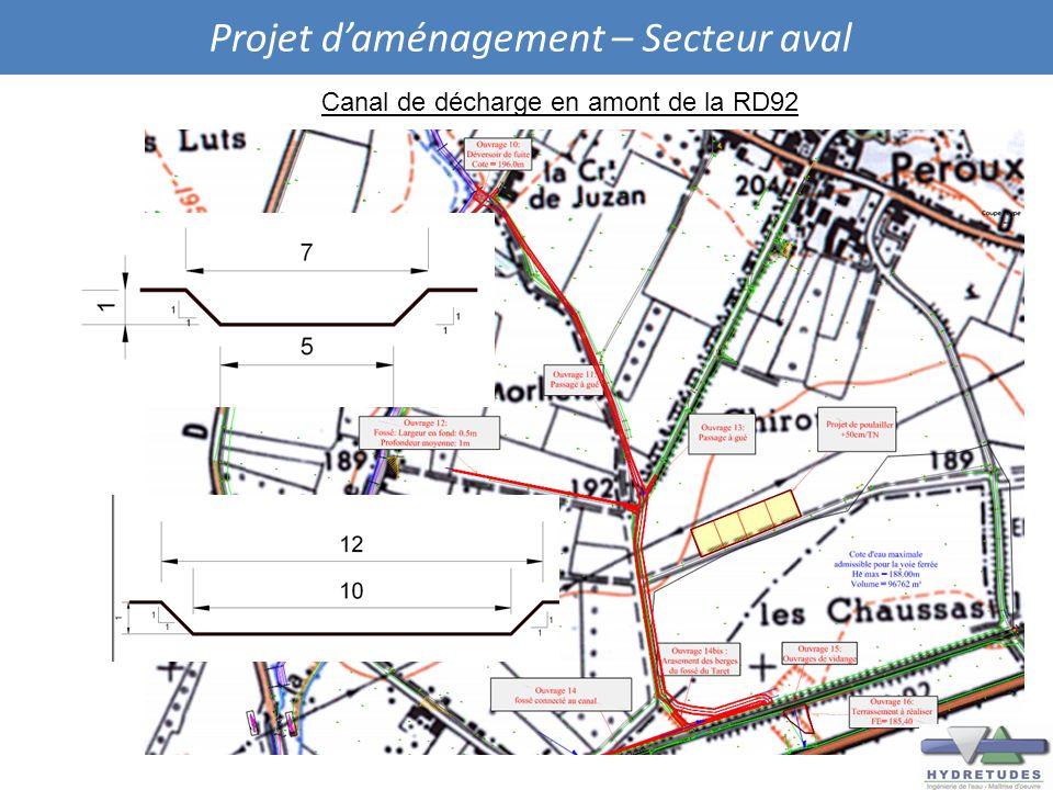 Projet daménagement – Secteur aval Canal de décharge en amont de la RD92