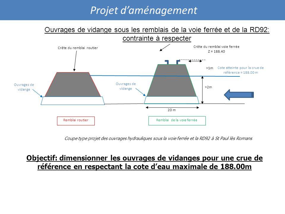 Projet daménagement Coupe type projet des ouvrages hydrauliques sous la voie ferrée et la RD92 à St Paul lès Romans Cote atteinte pour la crue de réfé