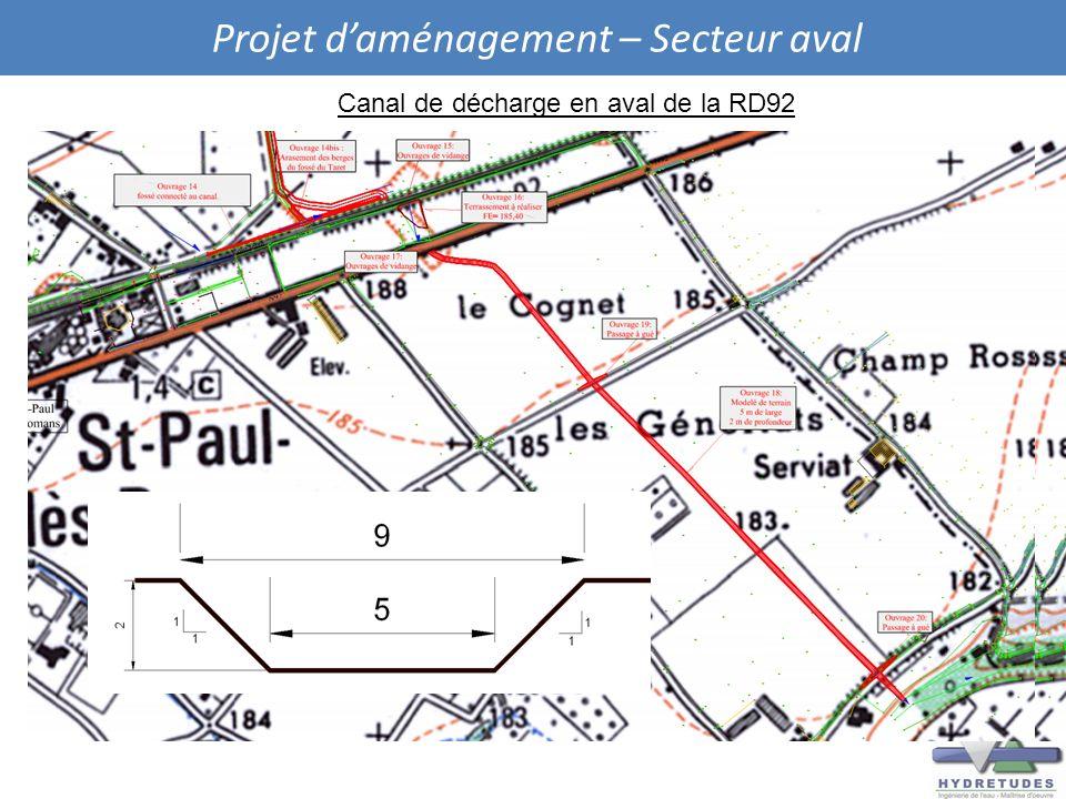 Projet daménagement – Secteur aval Canal de décharge en aval de la RD92