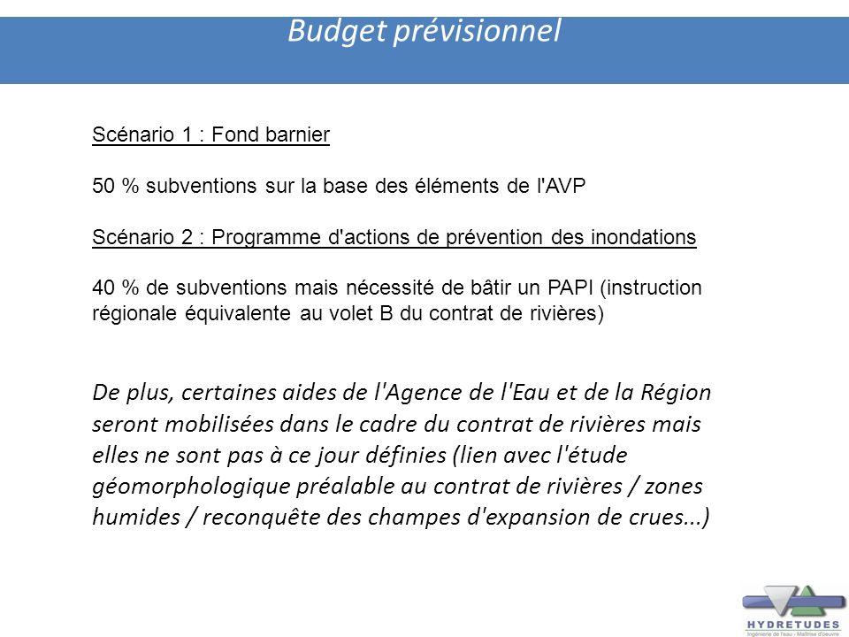 Budget prévisionnel Scénario 1 : Fond barnier 50 % subventions sur la base des éléments de l'AVP Scénario 2 : Programme d'actions de prévention des in