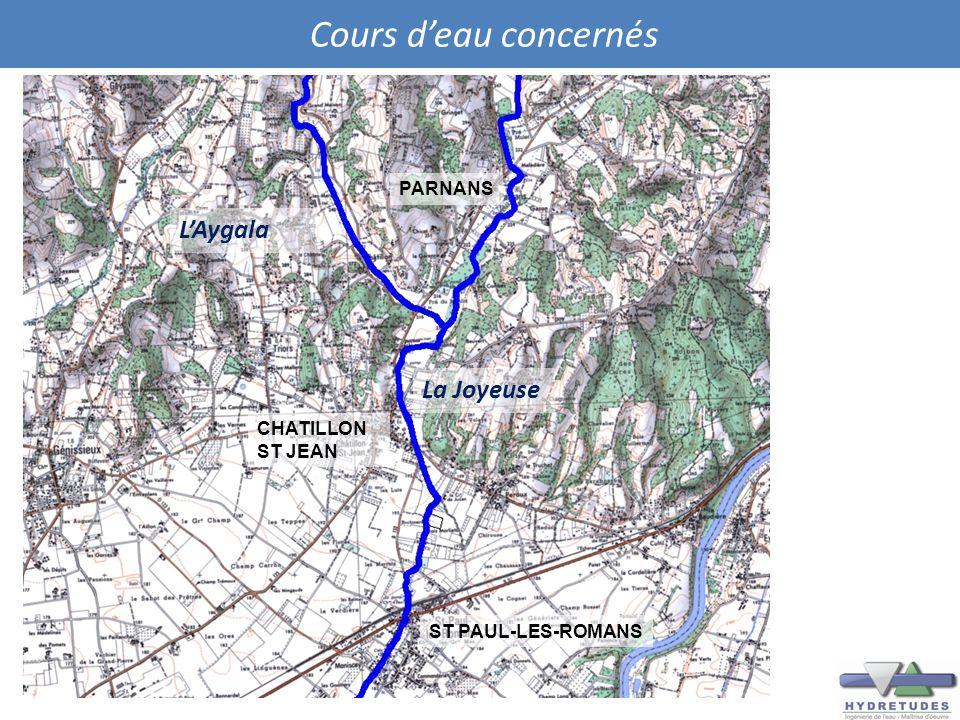 Cours deau concernés La Joyeuse LAygala ST PAUL-LES-ROMANS CHATILLON ST JEAN PARNANS