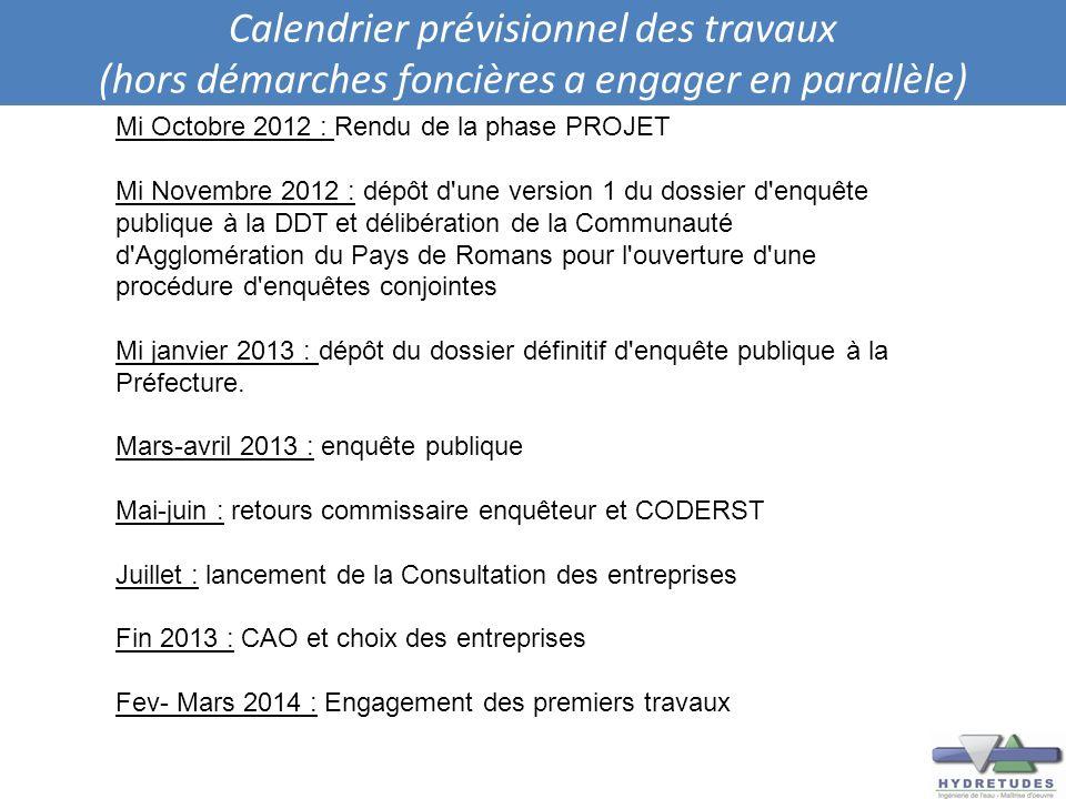 Calendrier prévisionnel des travaux (hors démarches foncières a engager en parallèle) Mi Octobre 2012 : Rendu de la phase PROJET Mi Novembre 2012 : dé
