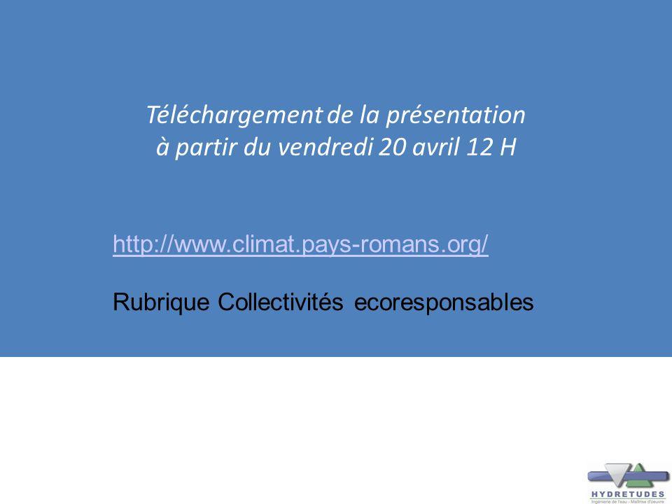 Téléchargement de la présentation à partir du vendredi 20 avril 12 H http://www.climat.pays-romans.org/ Rubrique Collectivités ecoresponsables