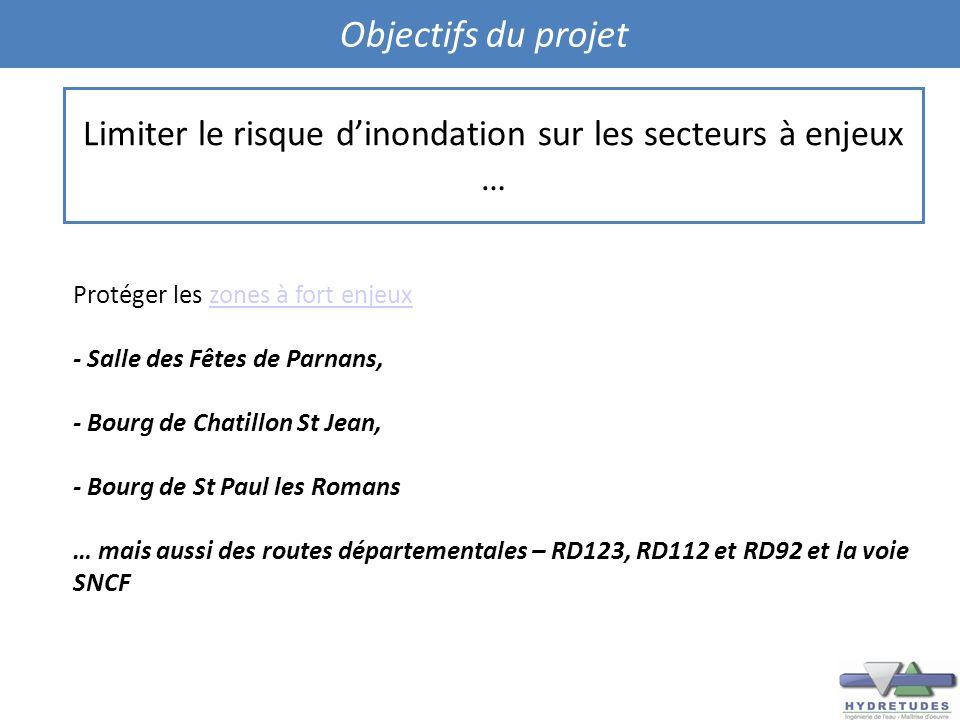 Objectifs du projet Protéger les zones à fort enjeuxzones à fort enjeux - Salle des Fêtes de Parnans, - Bourg de Chatillon St Jean, - Bourg de St Paul
