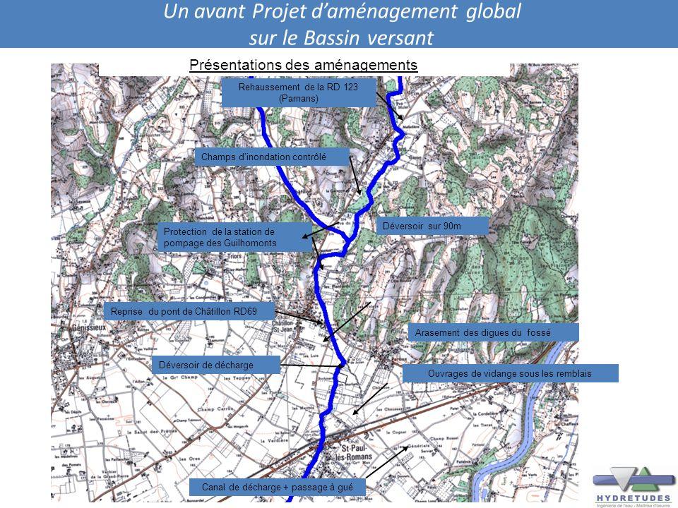 Un avant Projet daménagement global sur le Bassin versant Rehaussement de la RD 123 (Parnans) Champs dinondation contrôlé Protection de la station de