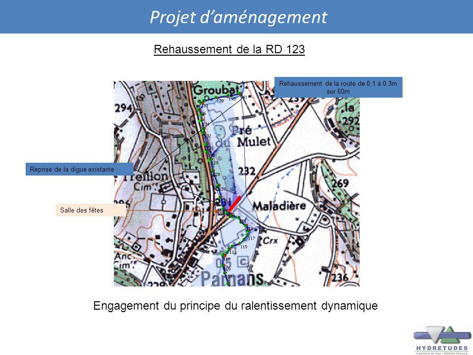 Projet daménagement Rehaussement de la RD 123 Reprise de la digue existante Rehaussement de la route de 0.1 à 0.3m sur 60m Salle des fêtes Engagement
