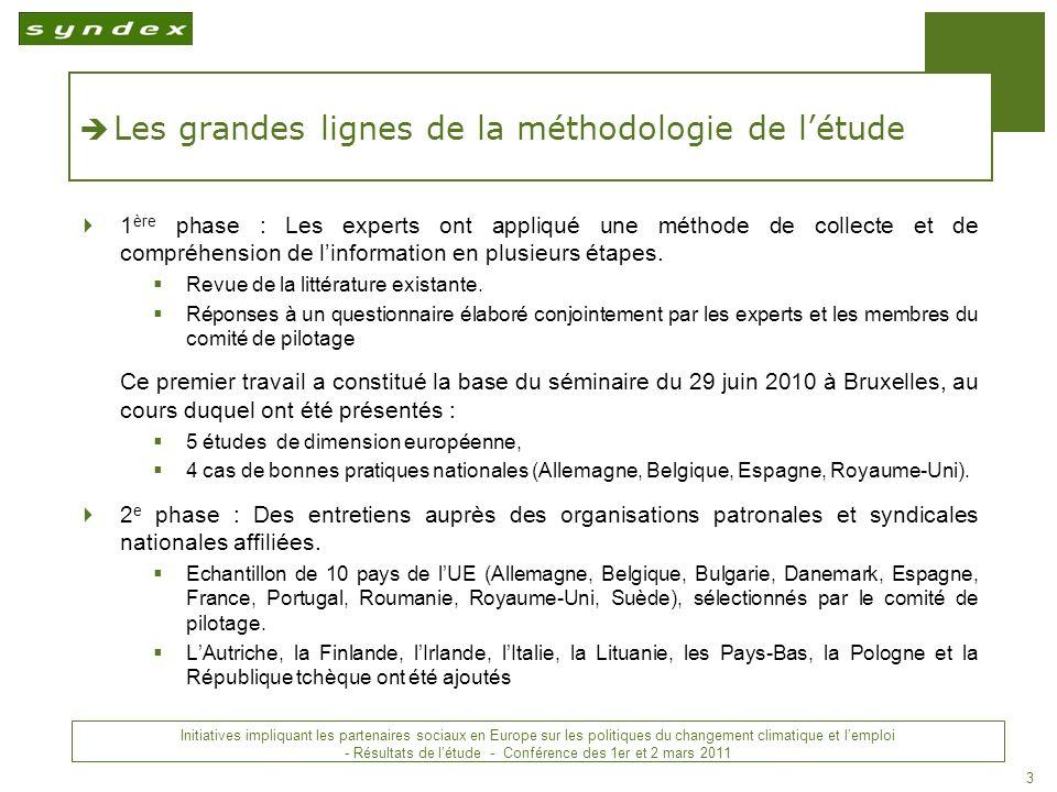 Initiatives impliquant les partenaires sociaux en Europe sur les politiques du changement climatique et lemploi - Conclusions - Conférence des 1 er et 2 mars 2011 14 MERCI DE VOTRE ATTENTION !