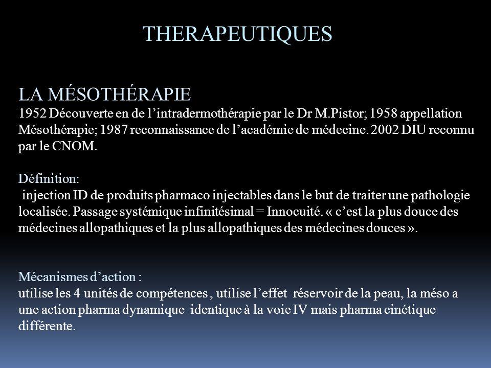LA MÉSOTHÉRAPIE 1952 Découverte en de lintradermothérapie par le Dr M.Pistor; 1958 appellation Mésothérapie; 1987 reconnaissance de lacadémie de médec