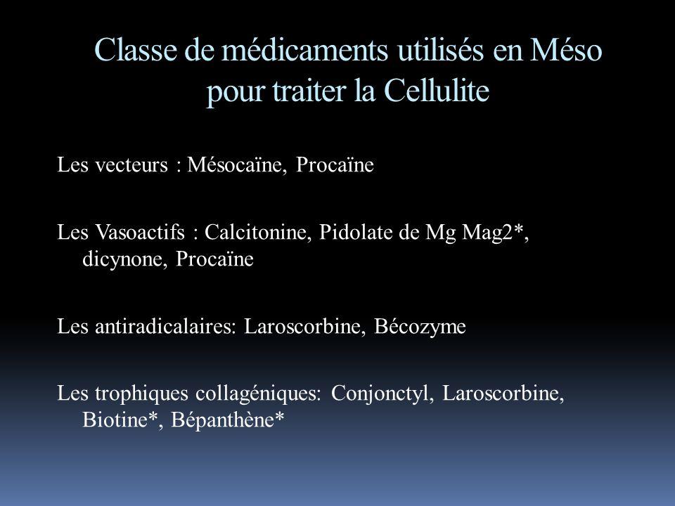Classe de médicaments utilisés en Méso pour traiter la Cellulite Les vecteurs : Mésocaïne, Procaïne Les Vasoactifs : Calcitonine, Pidolate de Mg Mag2*