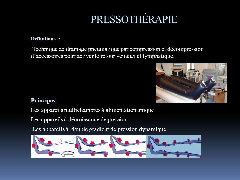 PRESSOTHÉRAPIE Définitions : Technique de drainage pneumatique par compression et décompression daccessoires pour activer le retour veineux et lymphat
