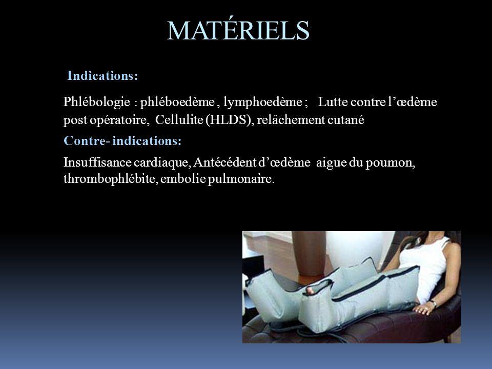 MATÉRIELS Indications: Phlébologie : phléboedème, lymphoedème ; Lutte contre lœdème post opératoire, Cellulite (HLDS), relâchement cutané Contre- indi