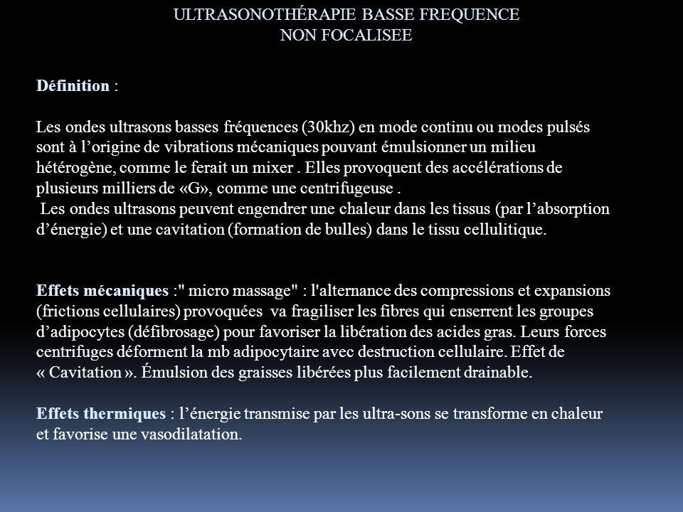 Définition : Les ondes ultrasons basses fréquences (30khz) en mode continu ou modes pulsés sont à lorigine de vibrations mécaniques pouvant émulsionne