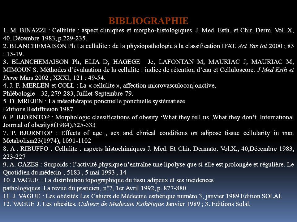 BIBLIOGRAPHIE 1. M. BINAZZI : Cellulite : aspect cliniques et morpho-histologiques. J. Med. Esth. et Chir. Derm. Vol. X, 40, Décembre 1983, p.229-235.