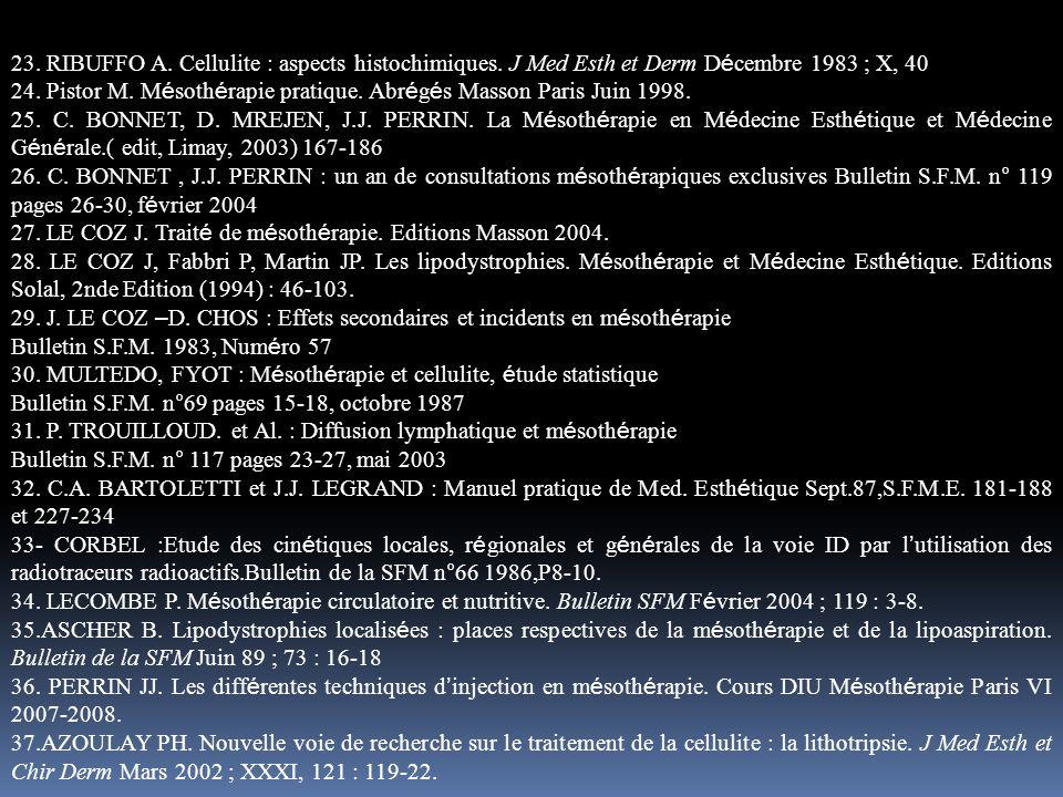 23. RIBUFFO A. Cellulite : aspects histochimiques. J Med Esth et Derm D é cembre 1983 ; X, 40 24. Pistor M. M é soth é rapie pratique. Abr é g é s Mas