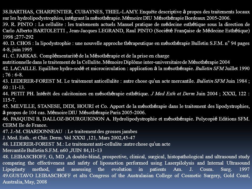 38.BARTHAS, CHARPENTIER, CUBAYNES, THIEL-LAMY. Enquête descriptive à propos des traitements locaux sur les hydrolipodystrophies, int é grant la m é so