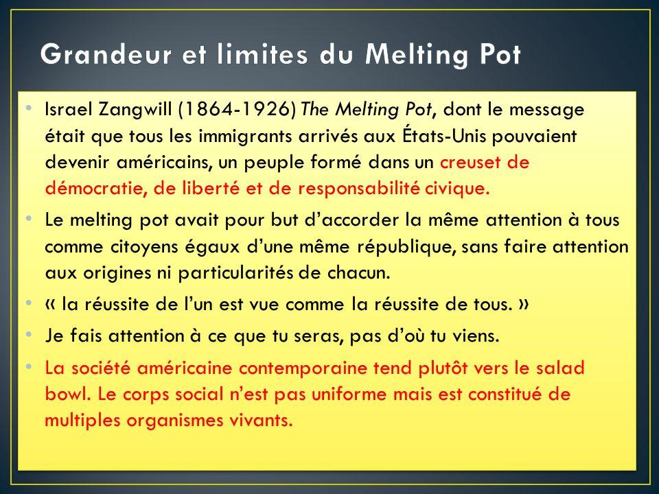 Israel Zangwill (1864-1926) The Melting Pot, dont le message était que tous les immigrants arrivés aux États-Unis pouvaient devenir américains, un peu