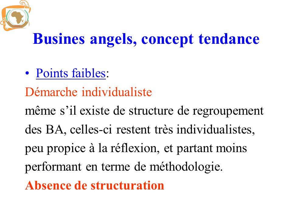 Busines angels, concept tendance Points faibles: Démarche individualiste même sil existe de structure de regroupement des BA, celles-ci restent très i