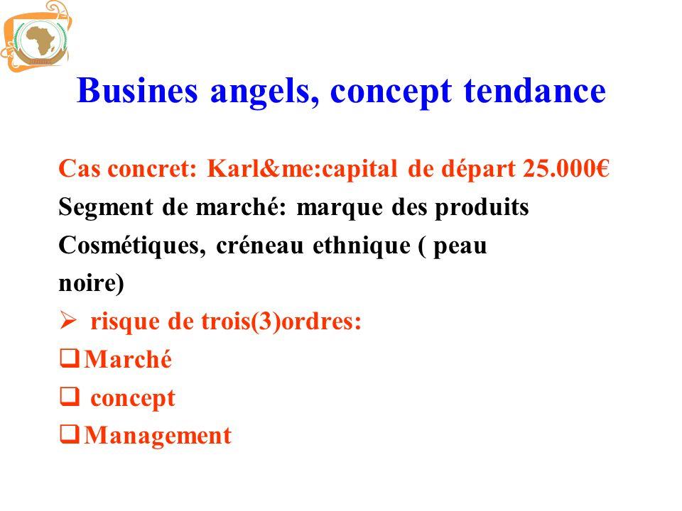 Busines angels, concept tendance Cas concret: Karl&me:capital de départ 25.000 Segment de marché: marque des produits Cosmétiques, créneau ethnique (