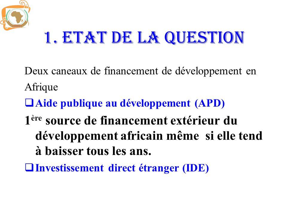 1. ETAT DE LA QUESTION Deux caneaux de financement de développement en Afrique Aide publique au développement (APD) 1 ère source de financement extéri