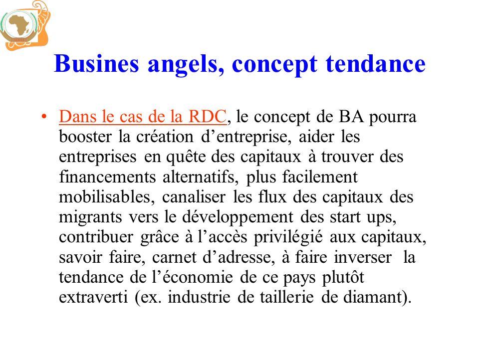 Busines angels, concept tendance Dans le cas de la RDC, le concept de BA pourra booster la création dentreprise, aider les entreprises en quête des ca
