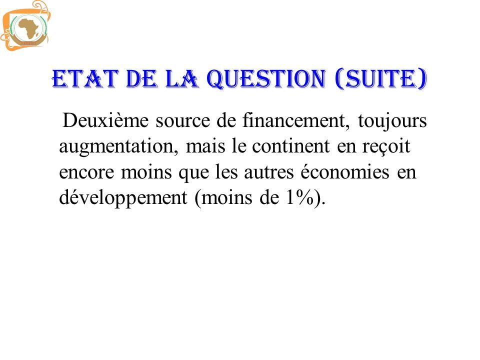 Etat de la question (Suite) Deuxième source de financement, toujours augmentation, mais le continent en reçoit encore moins que les autres économies e
