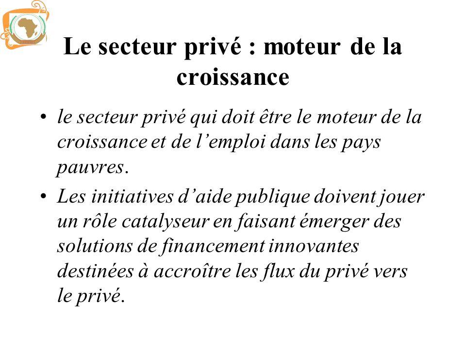 Le secteur privé : moteur de la croissance le secteur privé qui doit être le moteur de la croissance et de lemploi dans les pays pauvres. Les initiati
