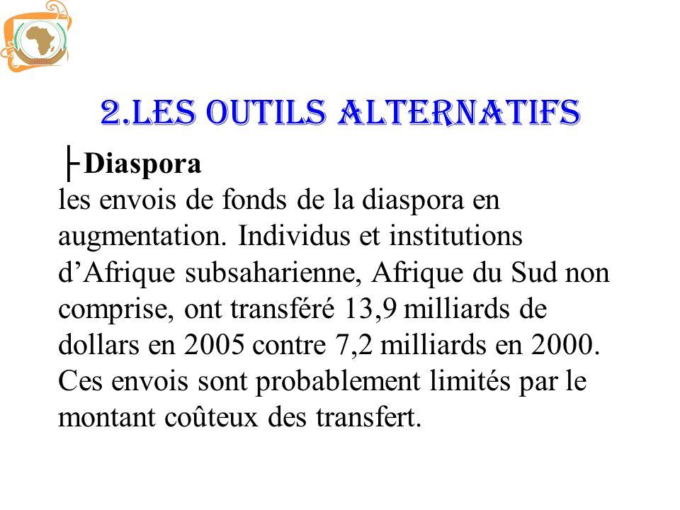 2.LES OUTILS ALTERNATIFS Diaspora les envois de fonds de la diaspora en augmentation. Individus et institutions dAfrique subsaharienne, Afrique du Sud