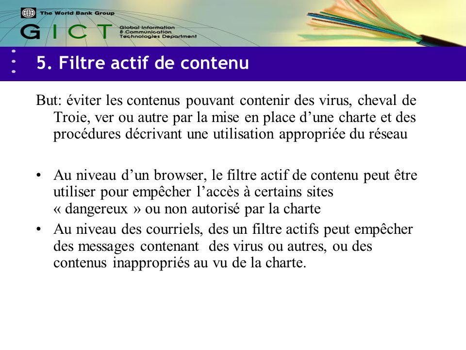 5. Filtre actif de contenu But: éviter les contenus pouvant contenir des virus, cheval de Troie, ver ou autre par la mise en place dune charte et des