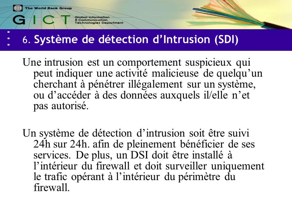 6. Système de détection dIntrusion (SDI) Une intrusion est un comportement suspicieux qui peut indiquer une activité malicieuse de quelquun cherchant