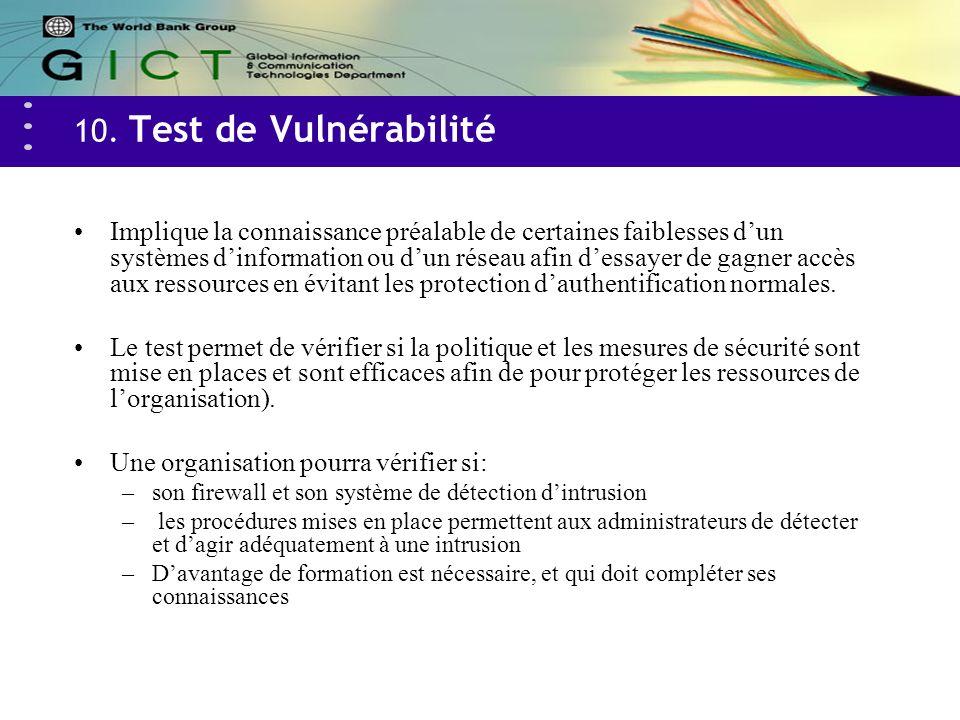 10. Test de Vulnérabilité Implique la connaissance préalable de certaines faiblesses dun systèmes dinformation ou dun réseau afin dessayer de gagner a