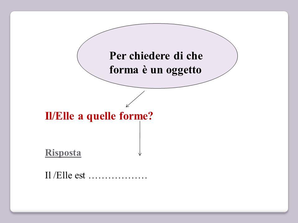 Per chiedere di che forma è un oggetto Il/Elle a quelle forme? Risposta Il /Elle est ………………