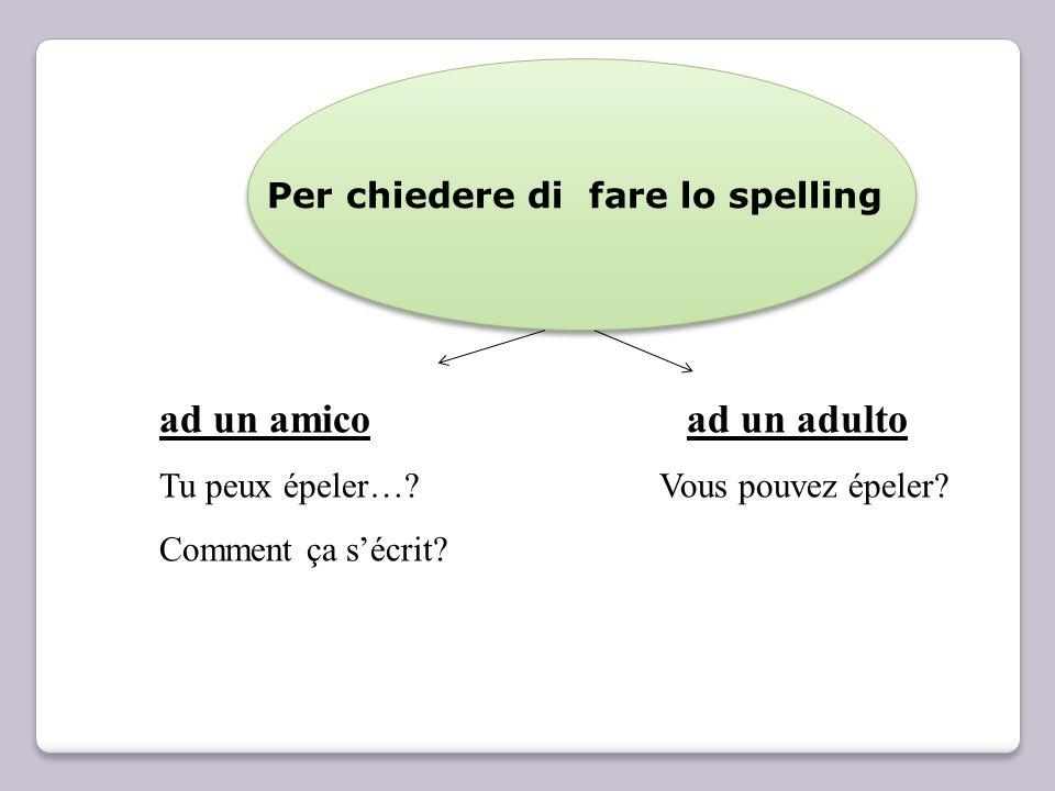 Per chiedere di fare lo spelling ad un amicoad un adulto Tu peux épeler…? Vous pouvez épeler? Comment ça sécrit?