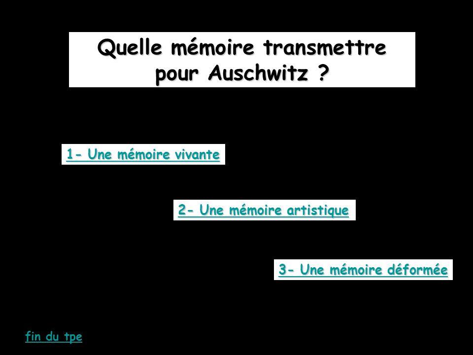 Quelle mémoire transmettre pour Auschwitz ? 1- Une mémoire vivante 1- Une mémoire vivante 2- Une mémoire artistique 2- Une mémoire artistique 3- Une m