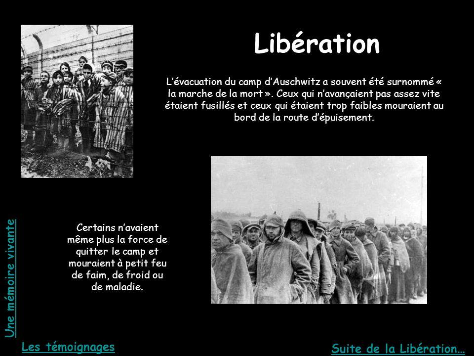 La libération Libération Lévacuation du camp dAuschwitz a souvent été surnommé « la marche de la mort ». Ceux qui navançaient pas assez vite étaient f