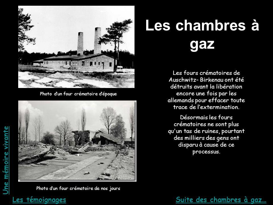 Les chambres à gaz Photo dun four crématoire dépoque Photo dun four crématoire de nos jours Les fours crématoires de Auschwitz- Birkenau ont été détru