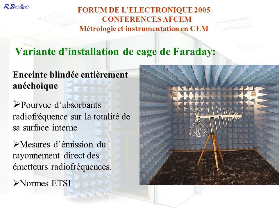 RBc&e FORUM DE LELECTRONIQUE 2005 CONFERENCES AFCEM Métrologie et instrumentation en CEM Variante dinstallation de cage de Faraday: Enceinte blindée e