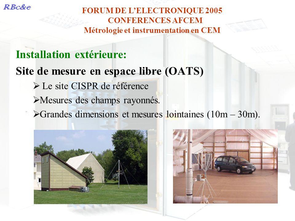 RBc&e FORUM DE LELECTRONIQUE 2005 CONFERENCES AFCEM Métrologie et instrumentation en CEM Installation extérieure: Site de mesure en espace libre (OATS