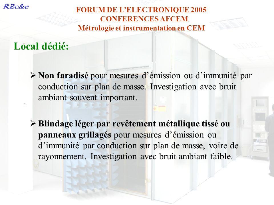 RBc&e FORUM DE LELECTRONIQUE 2005 CONFERENCES AFCEM Métrologie et instrumentation en CEM Local dédié: Non faradisé pour mesures démission ou dimmunité