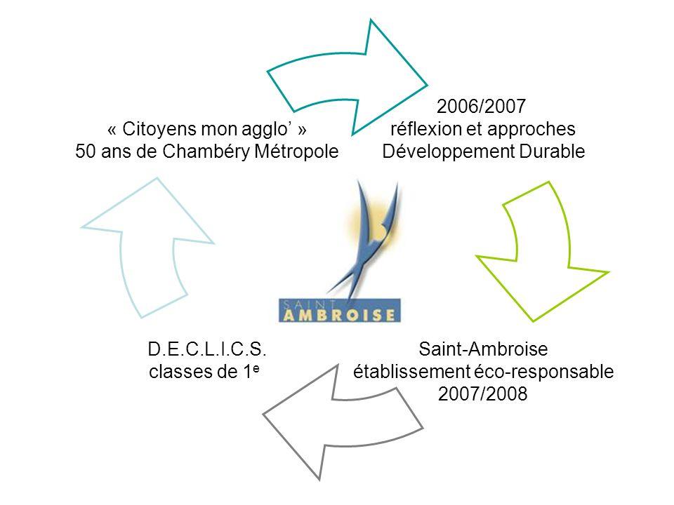 2006/2007 réflexion et approches Développement Durable Saint-Ambroise établissement éco-responsable 2007/2008 D.E.C.L.I.C.S. classes de 1 e « Citoyens