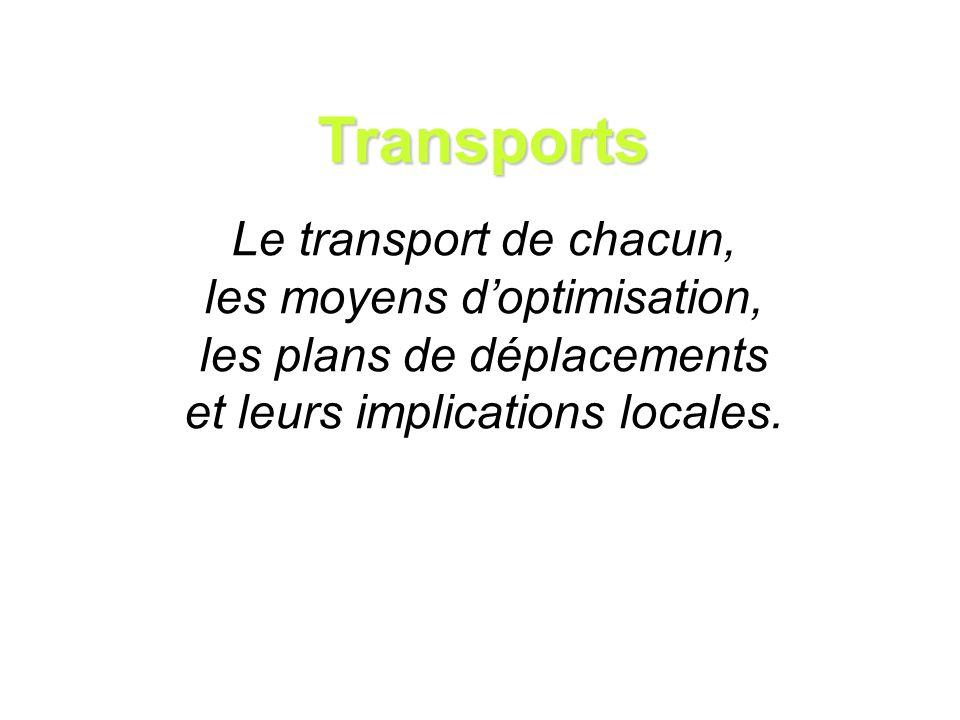 Transports Le transport de chacun, les moyens doptimisation, les plans de déplacements et leurs implications locales.