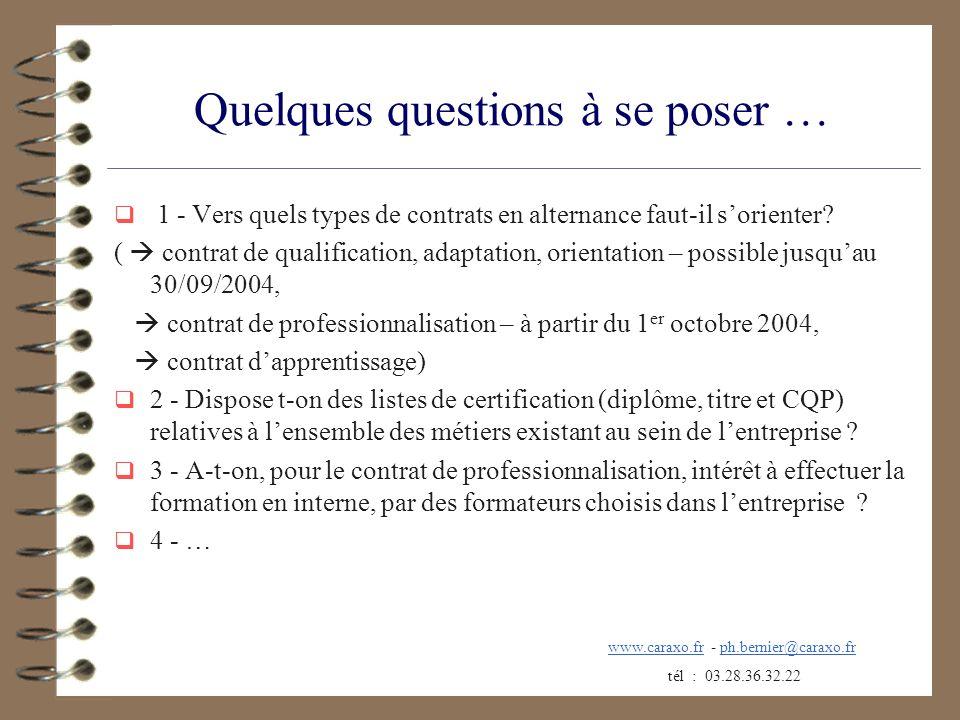 Quelques questions à se poser … 1 - Vers quels types de contrats en alternance faut-il sorienter? ( contrat de qualification, adaptation, orientation