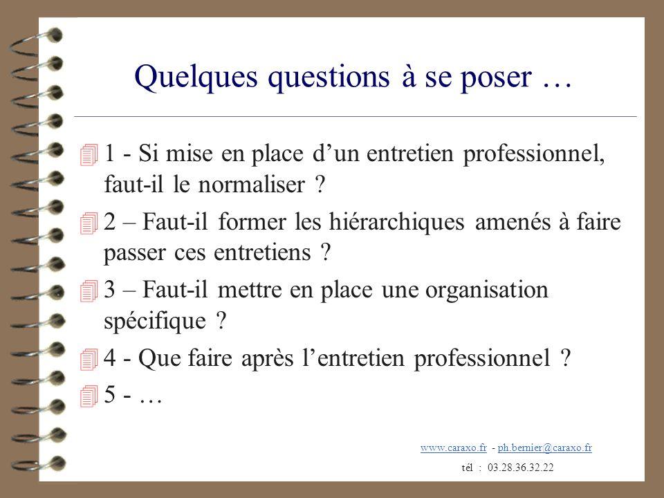 Quelques questions à se poser … 4 1 - Si mise en place dun entretien professionnel, faut-il le normaliser ? 4 2 – Faut-il former les hiérarchiques ame