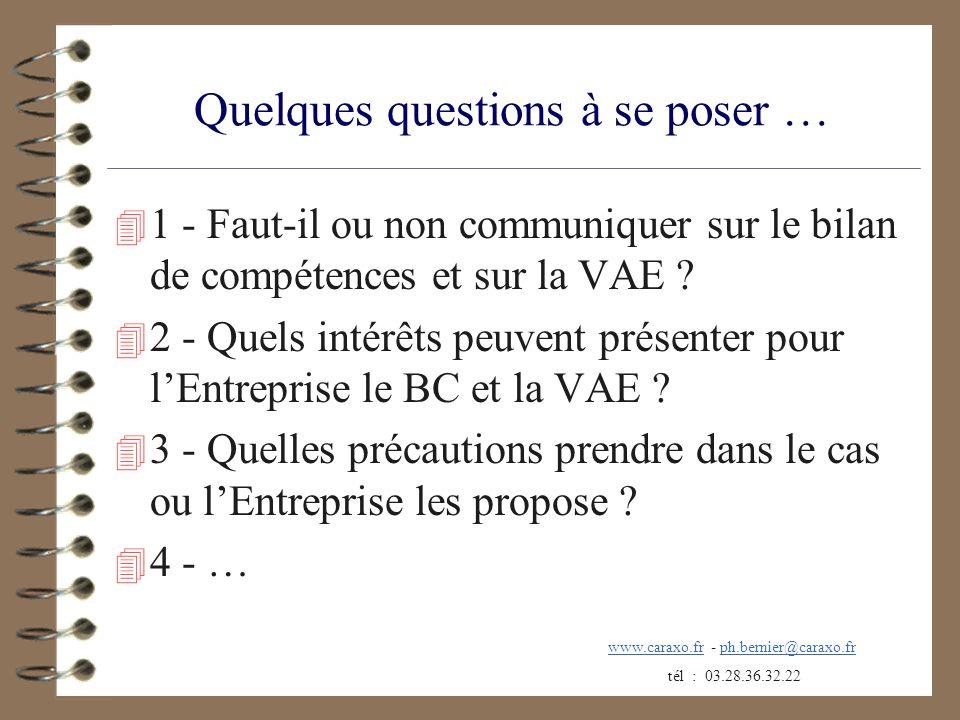 Quelques questions à se poser … 4 1 - Faut-il ou non communiquer sur le bilan de compétences et sur la VAE ? 4 2 - Quels intérêts peuvent présenter po
