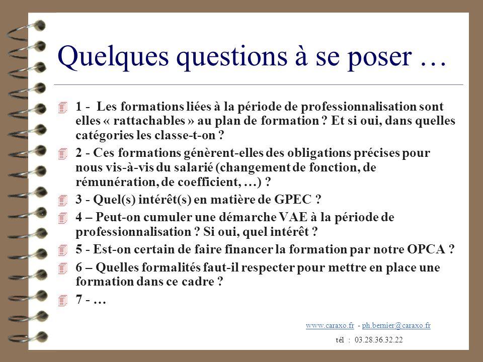 Quelques questions à se poser … 4 1 - Les formations liées à la période de professionnalisation sont elles « rattachables » au plan de formation ? Et