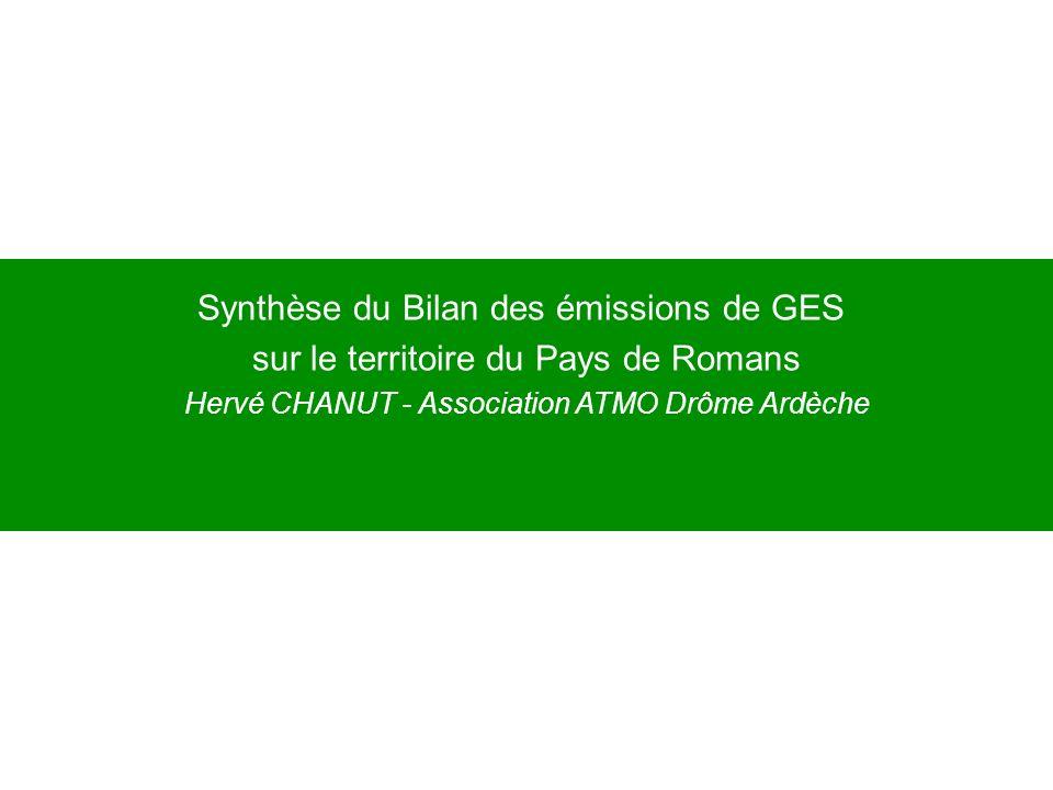 Synthèse du Bilan des émissions de GES sur le territoire du Pays de Romans Hervé CHANUT - Association ATMO Drôme Ardèche