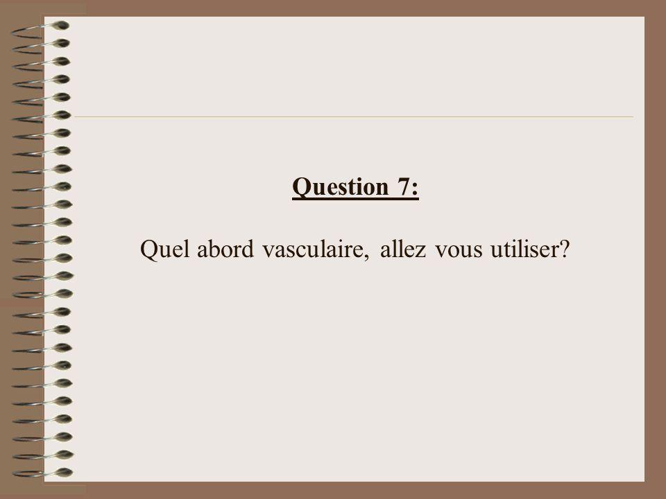 Question 7: Quel abord vasculaire, allez vous utiliser?